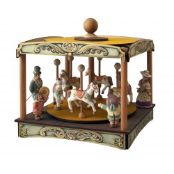 horses carousel music box, wonderful article made of wood and ceramic. suitable product for both children and adults.
