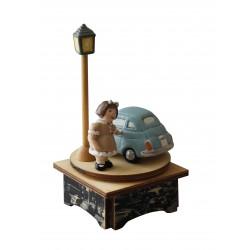 baby girl music box, for birth, baptism, birthday, 500 machine, wood and ceramic