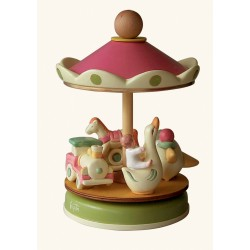 classic Handmade kids and children carousel music box for babies, gift for christening, baptism or baby shower party.