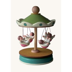 flying Handmade kids and children carousel music box for babies, gift for christening, baptism or baby shower party.
