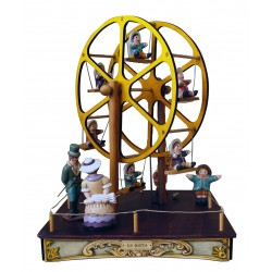 FERRIS WHEEL, children musicbox. Collection carousel lamp music box, made of wood and ceramic. This musical box, with light, fo