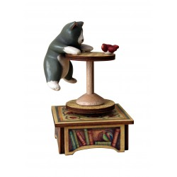collectible wooden music box, with a cat and a bird. Gift for children or adults.