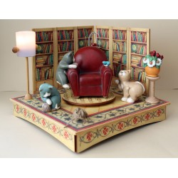 Collectible wooden music box, with three cats with a bird and with a wood ball. Gift for children and adults, with light.