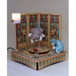 Collectible wooden music box, with two cats and a bird and with a wood ball. Gift for children and adults, with a real light