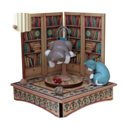 Collectible wooden music box, with two cats playing with a bird and with a wood ball. Gift for children and adults.