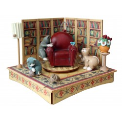 Collectible wooden music box, with three cats playing with a bird and with a wood ball. Gift for children and adults.