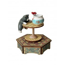 Collectible wooden music box, with a cat playing with an aquarium. Gift for children and adult.