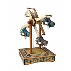 Collectible wooden Ferris Wheel music box, with four cats intent on playing with a bird. Gift for young and old