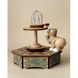 Collectible wooden music box, with a cat playing with a bird. Gift for young and old
