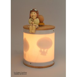 BABY GIRL AVIATOR HOT AIR BALLOON SHADOWS, light musical box for children baby and kids, gift for christening, baptism, baby sho