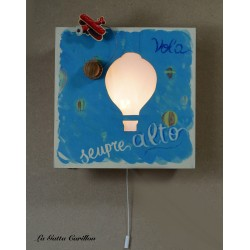 wooden lamp musical box, with perforated HOT AIR BALLON, for collection