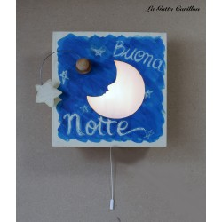 wooden lamp musical box, with perforated MOON AND STARS, for collection