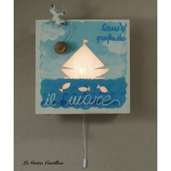 wooden lamp musical box, with perforated BOAT IN THE SEA, for collection