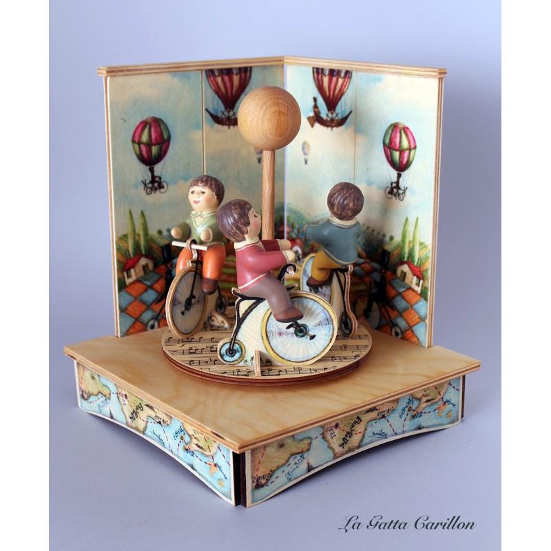 Children Bike Carousel Music Box A Wonderful Article Made Of Wood And Ceramic