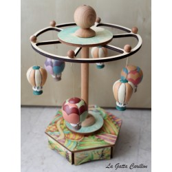 Hot Air Ballon carousel music box, a wonderful article made of wood and ceramic.