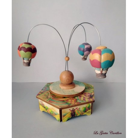 small Hot Air Ballon carousel music box, a wonderful article made of wood and ceramic.