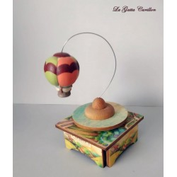 Hot Air Ballon music box, a wonderful article made of wood and ceramic, original gift for both children and adults