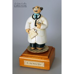 Customize caricature of a CHIEF MEDICAL OFFICER, musical box version or the simple statue version.