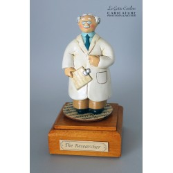 Customize caricature of a RESEARCHER, musical box version or the simple statue version.