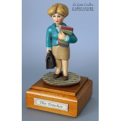 Customize caricature of a TEACHER, musical box version or the simple statue version.