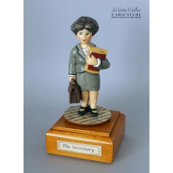 Customize caricature of a SECRETARY, musical box version or the simple statue version.