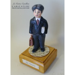 Customize caricature of a NOTARY, musical box version or the simple statue version.