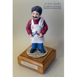 Customize caricature of a BUTCHER, musical box version or the simple statue version.
