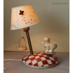 Collectible lamp musical box CAT AND BIRD. gift for birthdays, inaugurations, graduation
