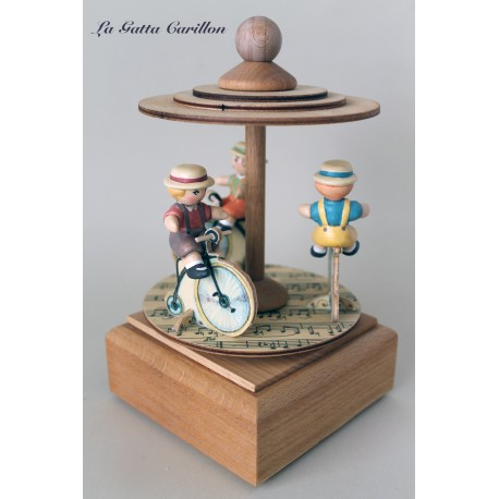 BIKES Carousel musical box, for children and babies, by wood and ceramic. gift idea for births and baptisms