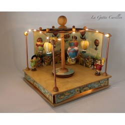 Hot air Ballon carousel music box with lights , a wonderful article made of wood and ceramic for children and collectors