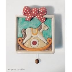 LITTLE horse PINK wall-hanging lullaby music box for babies gift for christening, baptism or baby shower