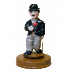 Handmade wooden collection music box of Charlie Chaplin is in ceramic and wood, with shellac finish.