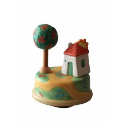 Collectible music box, with a sweet house with sun handmade for children and adults for birthday or a special event.