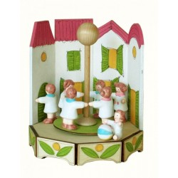 chilren playing, wood, children, musicbox, funfair, childhood, hand made, hand decorated
