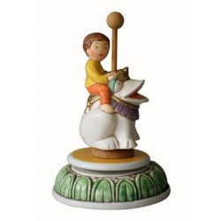 Children music box with a little baby BOY riding a frog, a wonderful article made compleatly by ceramic, hand made and hand dec