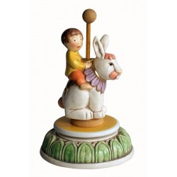 Children music box with a little baby BOY riding a rabbit, a wonderful article made compleatly by ceramic, hand made and hand d