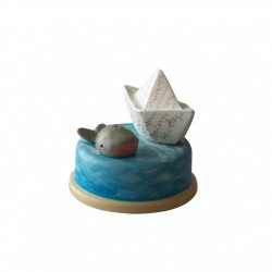 Collectible music box, with boat and whale, for children and adults for Baptism, Baby shower, birthday or a special event.