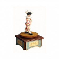 Arlecchino Collectible Music Boxes, characterized with fascinating rotation around the vertical axis, made by wood and ceramic,